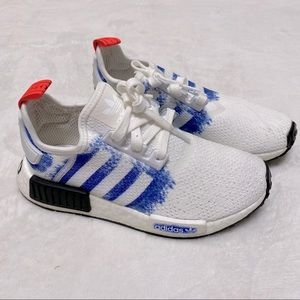 Nmd R1 J White and Blue Shoes Adidas